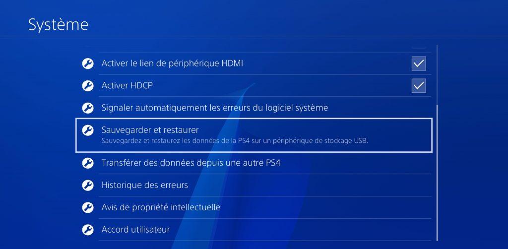 PS4 Sauvegarder et restaurer