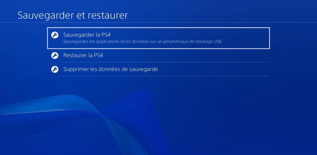 PS4 Sauvegarder
