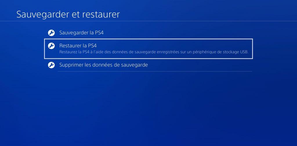 PS4 Restaurer la PS4
