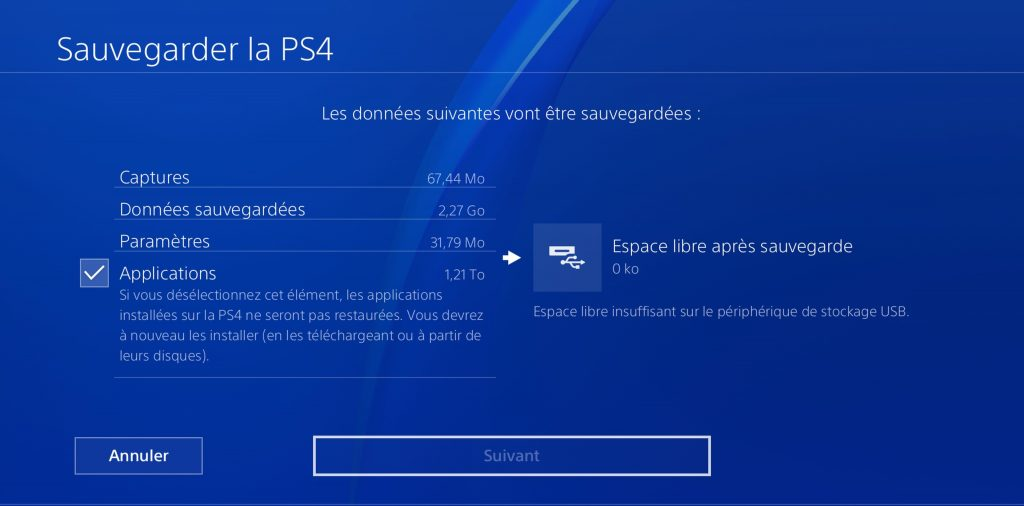PS4 Sauvegarde en cours