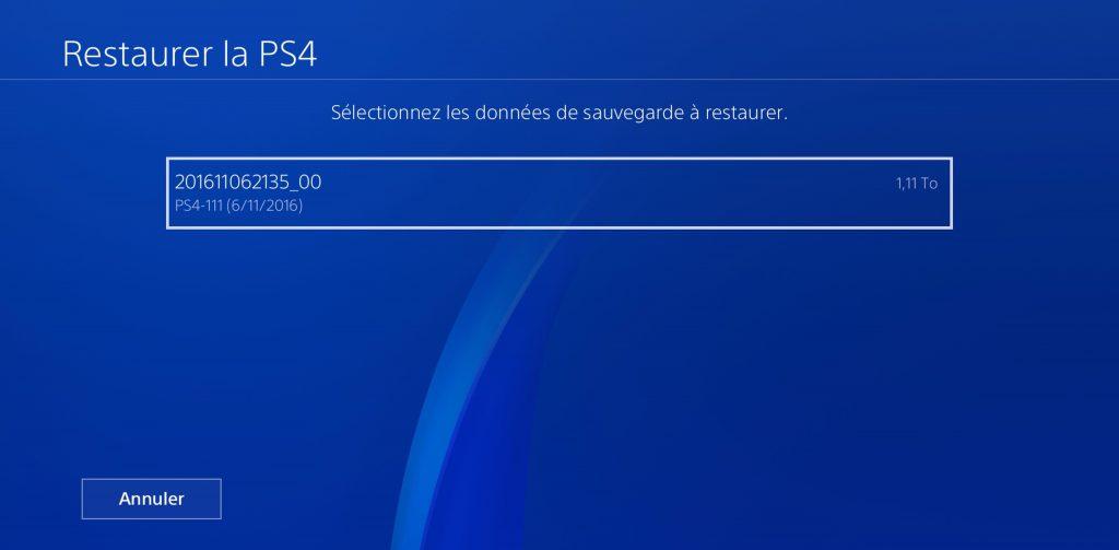 PS4 Sauvegarde