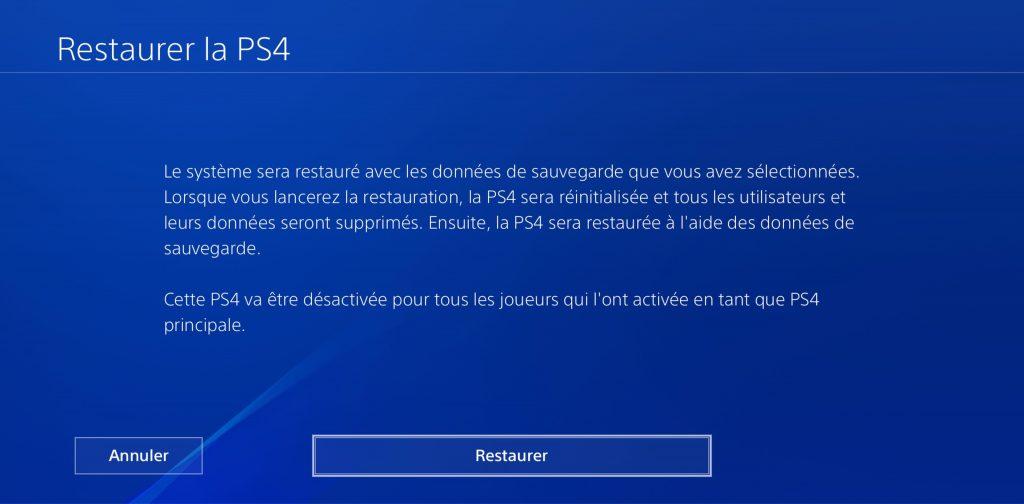 Restaurer PS4